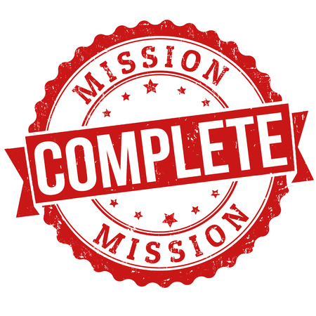completed: Mission complete grunge rubber stamp on white, vector illustration Illustration