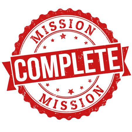 completato: Missione completata timbro di gomma grunge su bianco, illustrazione vettoriale