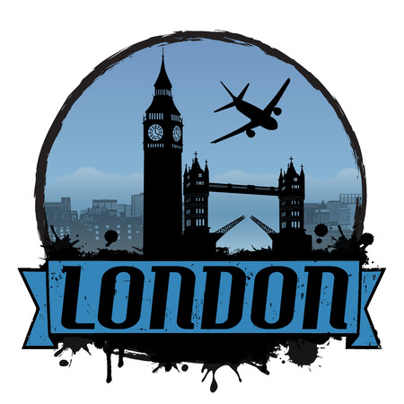 London vintage travel label or stamp on white, vector illustration Vector