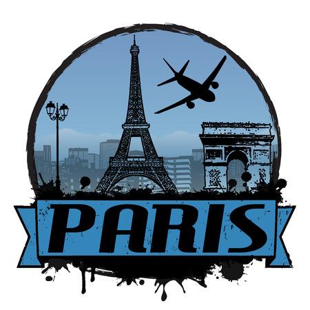 Etiqueta del viaje del vintage de París o el sello en blanco, ilustración vectorial Foto de archivo - 24895737