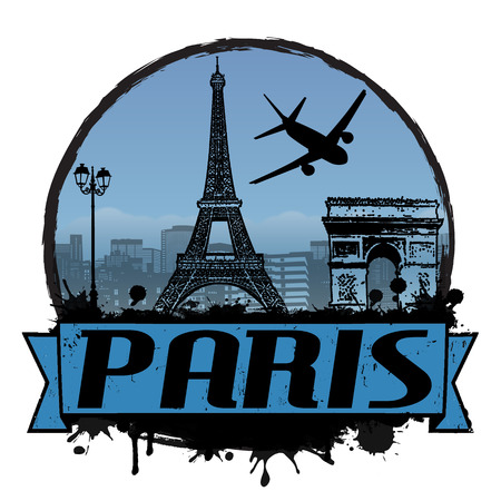Paris vintage travel label or stamp on white, vector illustration Vector