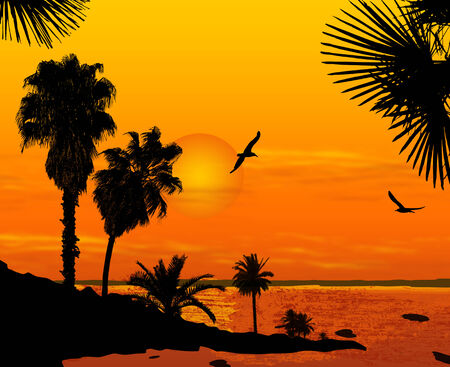 Sunset on beautiful tropical seascape. Sunset on the ocean background, vector illustration Stock Vector - 24895842