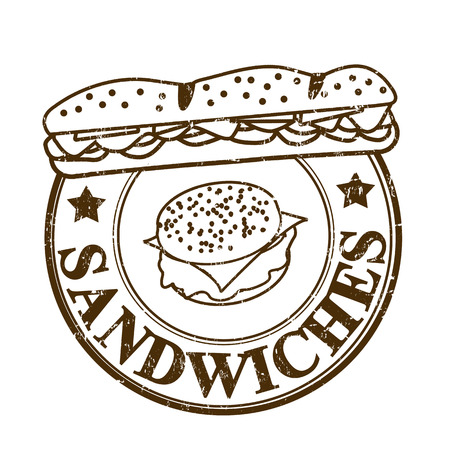 Sandwiches grunge rubber stempel op wit, vector illustratie