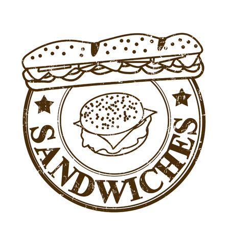 Sandwiches grunge rubber stempel op wit, vector illustratie