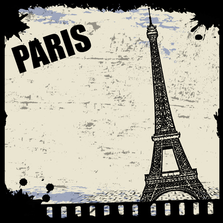 Vintage view of Paris on the grunge poster, vector illustration Vector