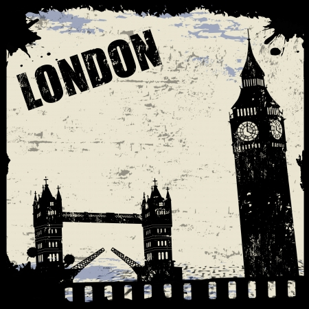 Vintage view of London on the grunge poster, vector illustration Vector