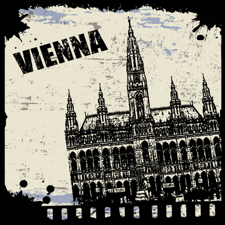 Vintage view of Vienna on the grunge poster, vector illustration Vector