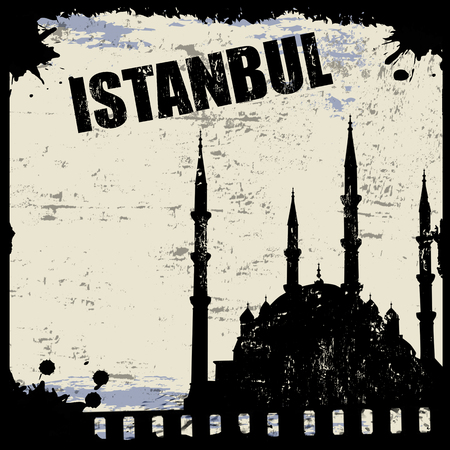 Vintage view of Istanbul on the grunge poster, vector illustration Vector