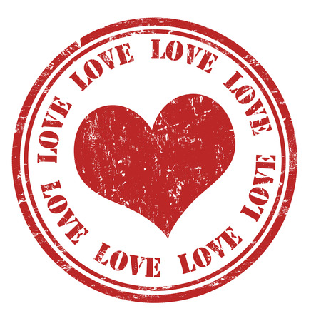 Love grunge rubber stamp on white, vector illustration Vector