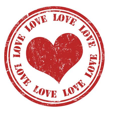 love stamp: Love grunge rubber stamp on white, vector illustration Illustration