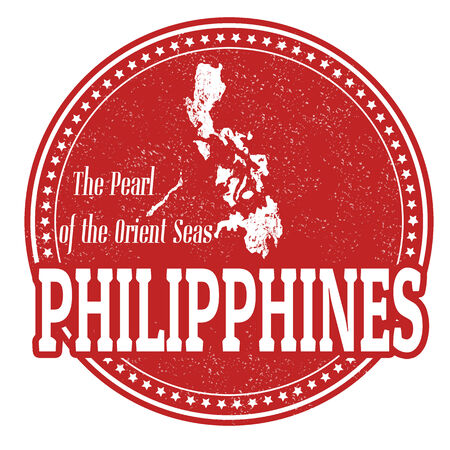 philippines: Vintage stamp with world Philippines written inside and map of Philippines, vector illustration