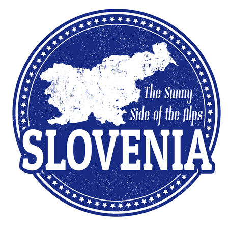 Vintage stamp with world Slovenia written inside and map of Slovenia, vector illustration Illustration