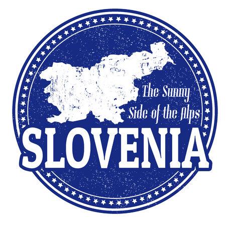 slovenia: Vintage stamp with world Slovenia written inside and map of Slovenia, vector illustration Illustration
