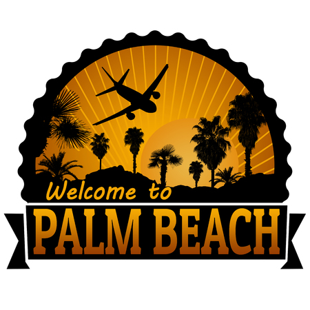 timbre voyage: Bienvenue à l'étiquette du Voyage Palm Beach ou timbre sur fond blanc, illustration vectorielle