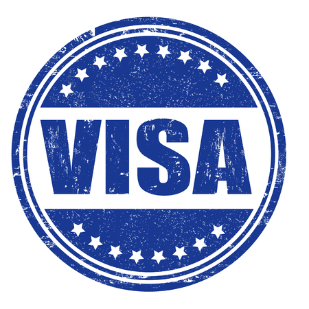 Visa grunge rubber stamp on white, vector illustration Vector
