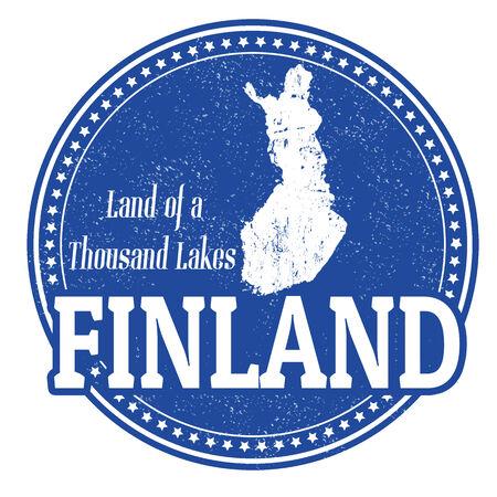 timbre voyage: Vintage timbre avec la Finlande mondial écrit à l'intérieur et carte de la Finlande