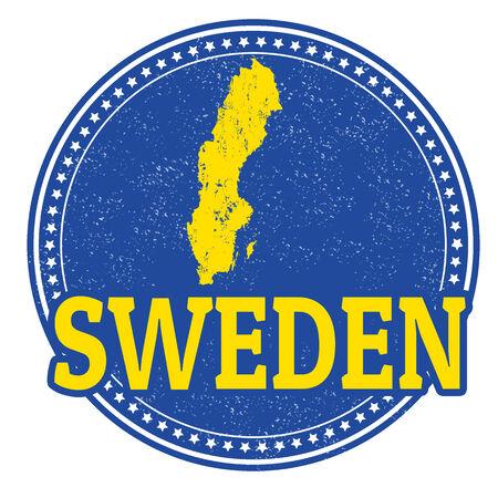 map of sweden: Vintage stamp with world Sweden written inside and map of Sweden Illustration