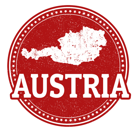 Vintage stamp with world Austria written inside and map of Austria, vector illustration Vector