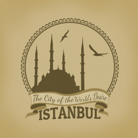 desire: Landscape of Istanbul ( The City of the Worlds Desire) on vintage postcard illustration