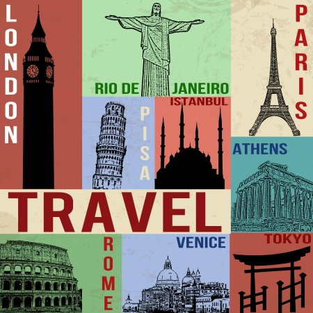 famous: 復古旅行海報符號和著名建築,矢量插圖