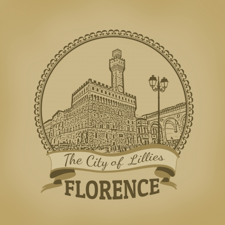 florence   italy: Landscape of Florence ( The City of Lillies) on vintage postcard illustration Illustration