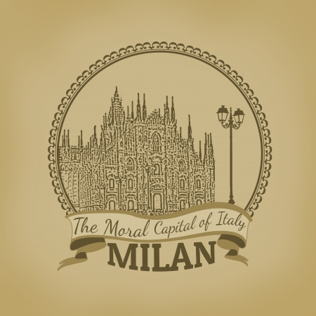 cathedrals: Landscape of Milan ( The Moral Capital of Italy) on vintage postcard illustration