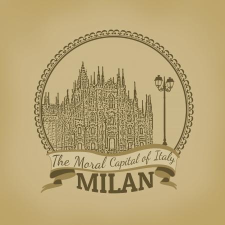 Landscape of Milan ( The Moral Capital of Italy) on vintage postcard illustration