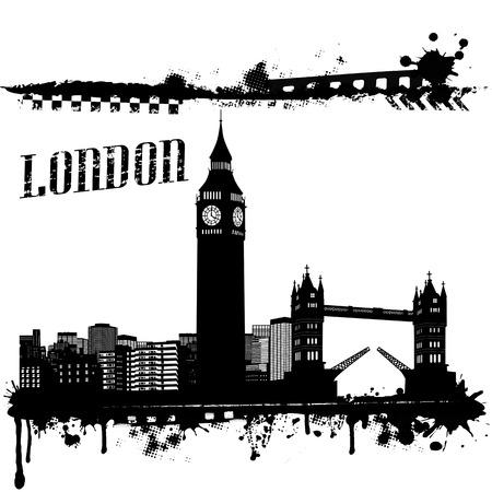 Paisaje urbano de fondo grunge de Londres en blanco, ilustración vectorial