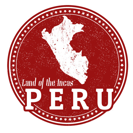 mapa del peru: Sello de la vendimia con el texto Tierra de los Incas escrita en el interior y el mapa del Perú, ilustración vectorial