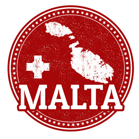 Vintage stamp with world Malta written inside and map of Malta, vector illustration