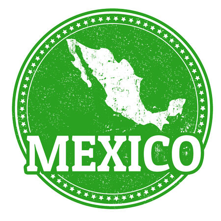 Vintage stamp with world Mexico written inside and map of Mexico, vector illustration Vector