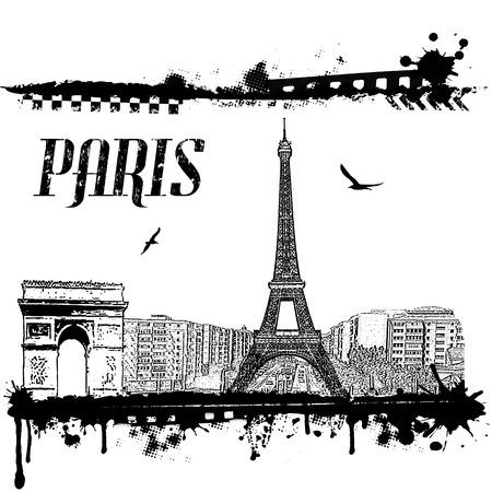 Grunge Paris cityscape background on white, vector illustration Vector