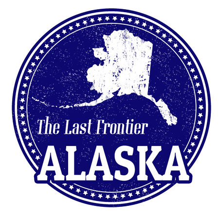 frontier: Vintage stamp with text The Last Frontier written inside and map of Alaska, vector illustration Illustration
