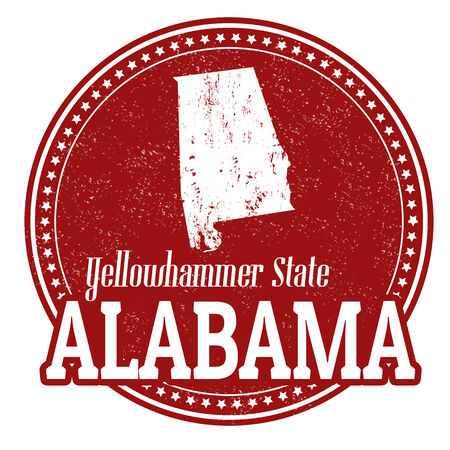 alabama: Vintage stamp with text Yellowhammer State written inside and map of Alabama, vector illustration Illustration