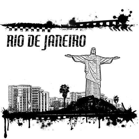 Grunge Rio de Janeiro cityscape background on white, vector illustration Vector