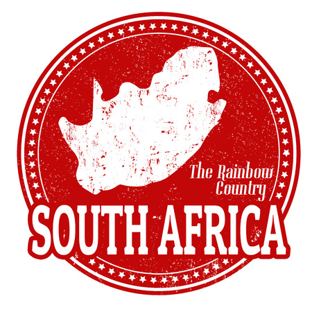 Vintage stamp with text The Rainbow Country written inside and map of South Africa, vector illustration