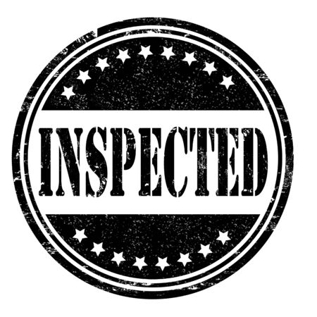 inspected: Inspected grunge rubber stamp on white, vector illustration