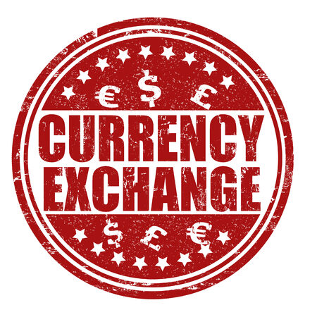 Currency exchange grunge rubber stamp on white, vector illustration Vector