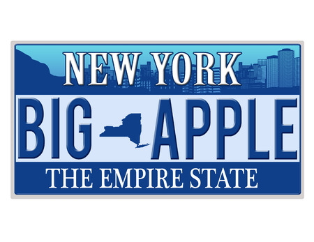 license plate: An imitation New York license plate with text BIG APPLE written on it making a great concept  Words on the bottom Empire State