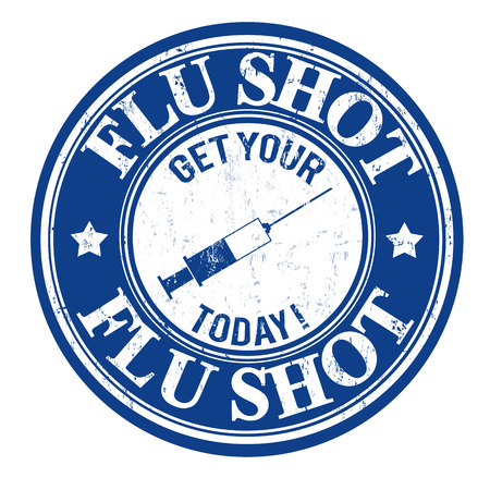 shot: Flu shot, get your today grunge rubber stamp on white, vector illustration