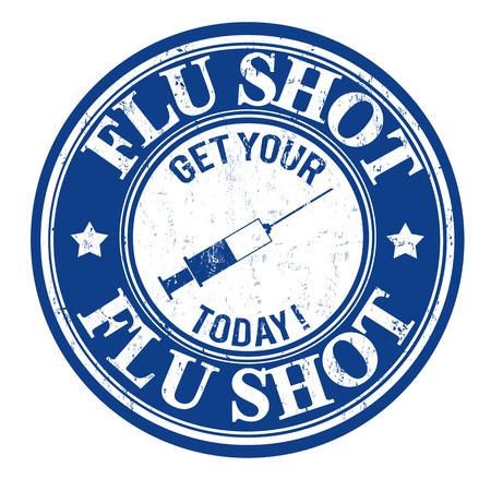 gripe: Vacuna contra la gripe, consiga su hoy grunge sello de goma en blanco, ilustración vectorial Vectores