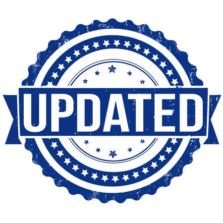 upgrading: Updated grunge rubber stamp on white, vector illustration