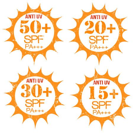 radiacion solar: Conjunto de sellos con Anti-UV 50, 20, 30, 15 SPF PA, en blanco, ilustración vectorial