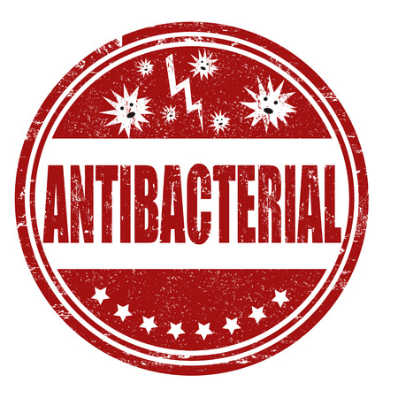 Antibacterial: Antibacterial grunge rubber stamp on white, vector illustration Illustration