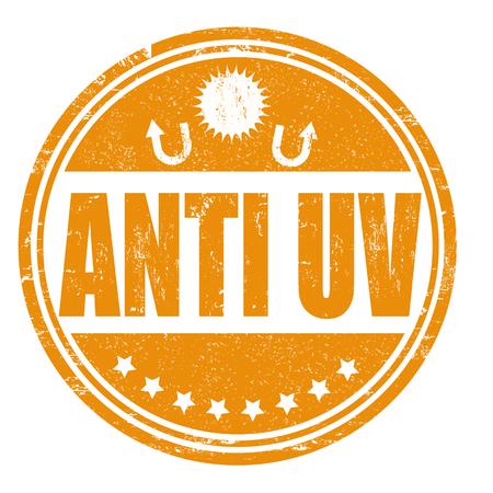 uva: Anti UV grunge rubber stamp on white, vector illustration