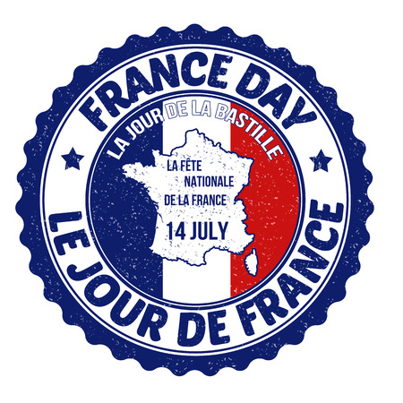 national holiday: Grunge France day rubber stamp on white, vector illustration