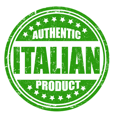 Authentic italian product grunge rubber stamp on white, vector illustration Vector