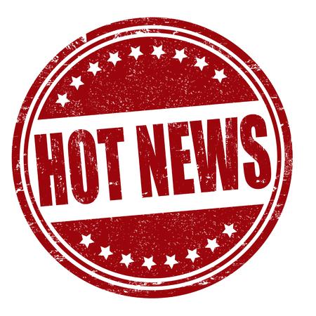 Hot news grunge rubber stamp on white, vector illustration Vector