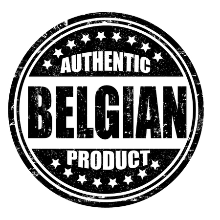 made in belgium: Authentic belgian product grunge rubber stamp on white, vector illustration