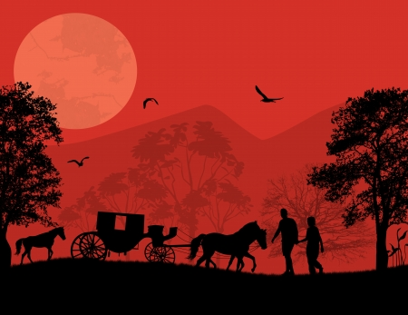 Carriage and lovers at red sunset on beautiful landscape, vector illustration Vector